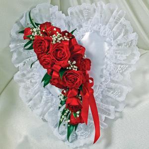 Red & White Satin Heart Casket Pillow