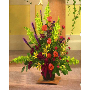 Multicolor Florial Display in Large Urn