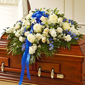 Blue & White Mixed Half Casket Cover