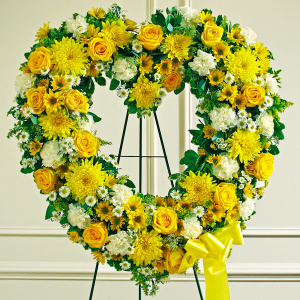 Yellow & White Standing Open Heart