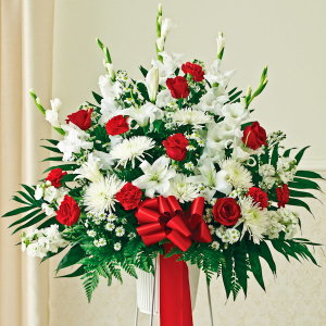 Red & White Sympathy Standing Basket