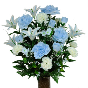 Light Blue Rose and White Carnation Mix (Silk Cemetery Flowers)