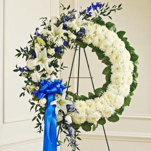 Blue & White Standing Wreath