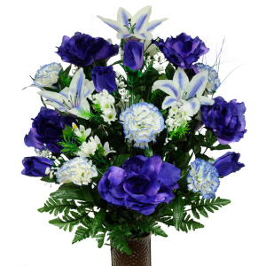 Purple Rose with Carnations and Lilies (Silk Cemetery Flowers)