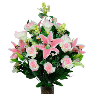 Cream / Pink Rose and Lily Mix (Silk Cemetery Flowers)