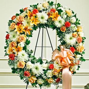 Peach, Orange & White Standing Wreath