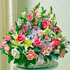 Sympathy Arrangement In Basket (Large) - Pink & White