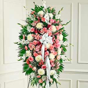 Pink & White Sympathy Standing Spray