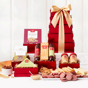 Mouthwatering Meat and Cheese Gift Tower