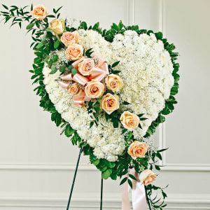 Solid White Standing Heart With Peach Rose Break