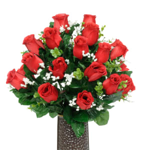 Red Roses and Baby's Breath (Silk Cemetery Flowers)