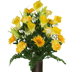 Yellow Peony and Calla Lily Mix  (Silk Cemetery Flowers)