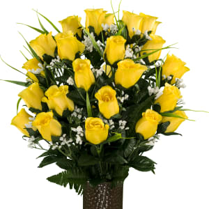 Yellow Roses and Lily Grass (Silk Cemetery Flowers)