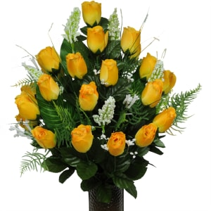 Yellow Rose Buds (Silk Cemetery Flowers)