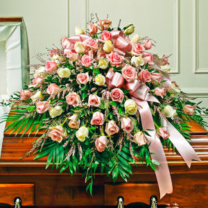 Pink & White Rose Half Casket Cover