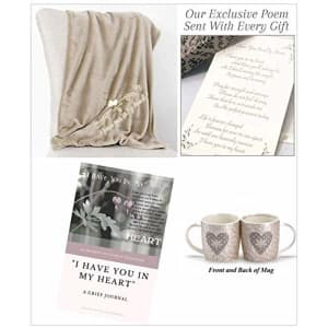 """I Have You In My Heart"" Sympathy Gift Blanket Set For Loss of a Loved One-Embroidered Plush Throw, Grief Journal, and Mug"