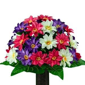 Pink, White, and Purple Dahlias (Silk Cemetery Flowers)
