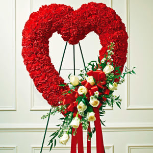 Red & White Standing Open Heart - Red Carnations - White Roses