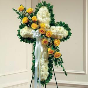 Yellow & White Standing Cross With Yellow Rose Break