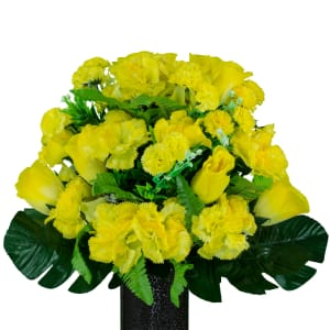 Yellow Roses and Carnations (Silk Cemetery Flowers)