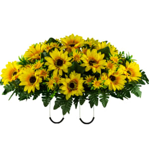 Yellow Sunflower Mix Saddle (Silk Cemetery Flowers)