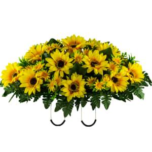 Yellow Sunflower Mix Saddle (Silk Cemetery Flowers)