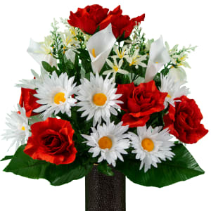 White Calla Lily and Daisies with Red Roses (Silk Cemetery Flowers)