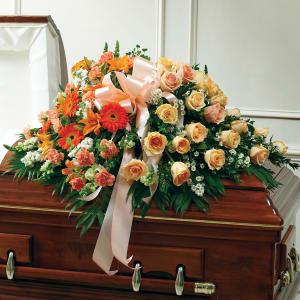 Peach, Orange & White Mixed Half Casket Cover
