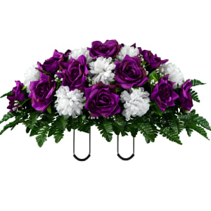 Purple Open Rose with White Mums (Silk Cemetery Flowers)
