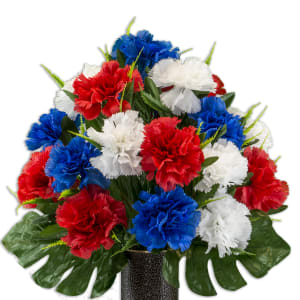 Patriotic Carnation Arrangement (Silk Cemetery Flowers)