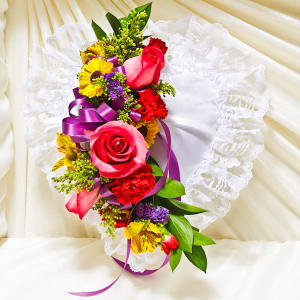 Multicolor Bright Satin Heart Casket Pillow