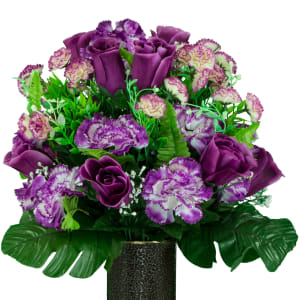 Plum Rose and Lavender Carnation (Silk Cemetery Flowers)