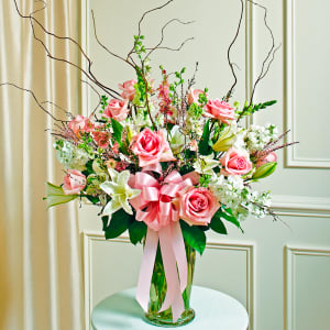 Pink and White Large Vase Arrangement