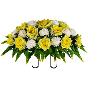 Yellow Open Rose with Two Tone Fern (Silk Cemetery Flowers)