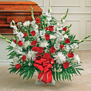 Red & White Sympathy Floor Basket