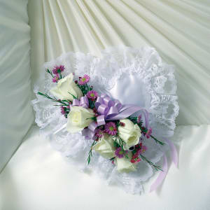 Lavender & White Satin Heart Casket Pillow