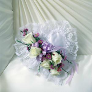 Lavender & White Satin Heart Casket Pillow