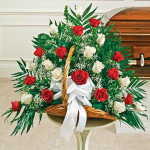 Red & White Rose Fireside Basket