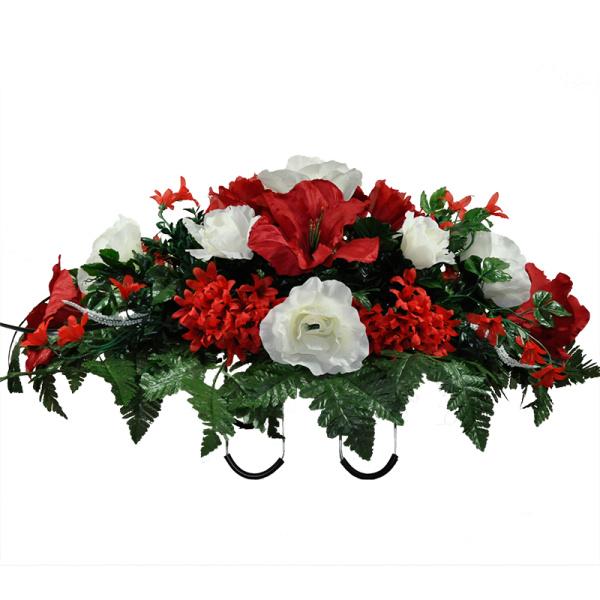 Red amaryllis white rose mix silk cemetery flowers for Amaryllis rose