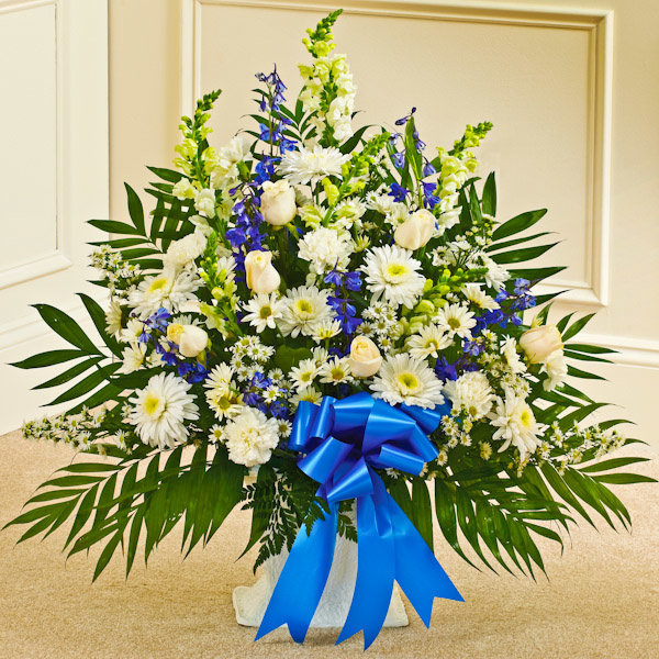 Blue white sympathy floor basket flowers the sympathy store blue white sympathy floor basket mightylinksfo Choice Image