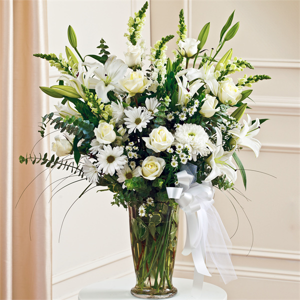 White Large Vase Arrangement Style The Sympathy Store