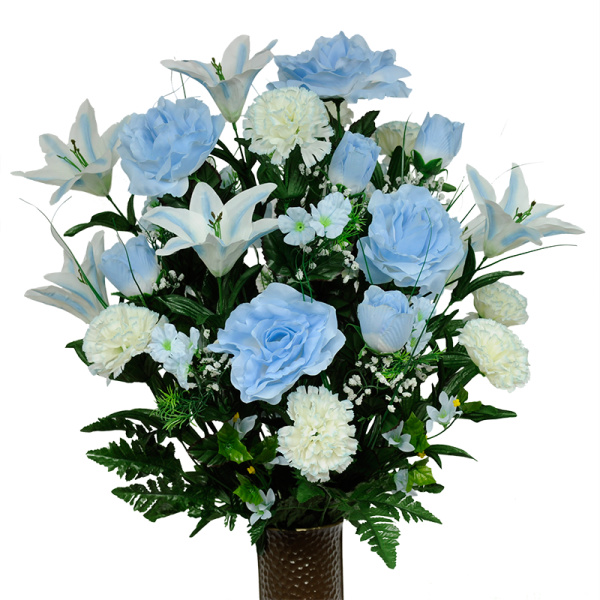 Light blue rose and white carnation mix silk cemetery flowers mightylinksfo