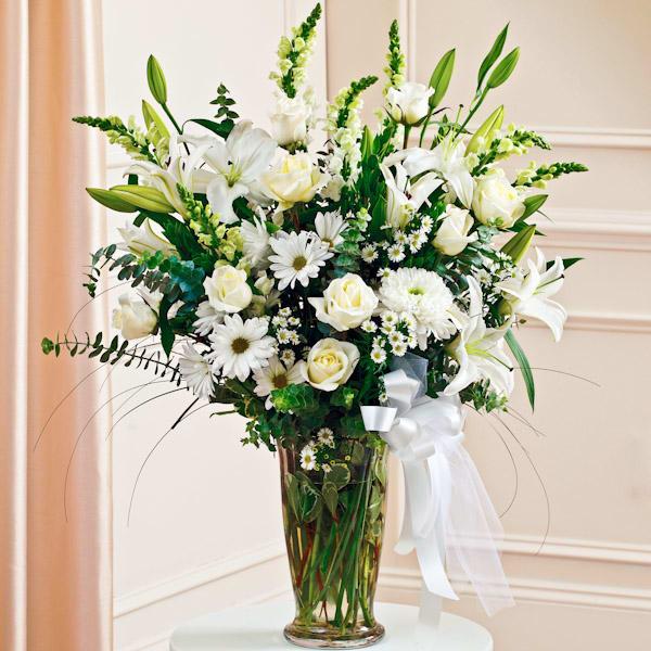 White Large Sympathy Vase Arrangement Vase Arrangements