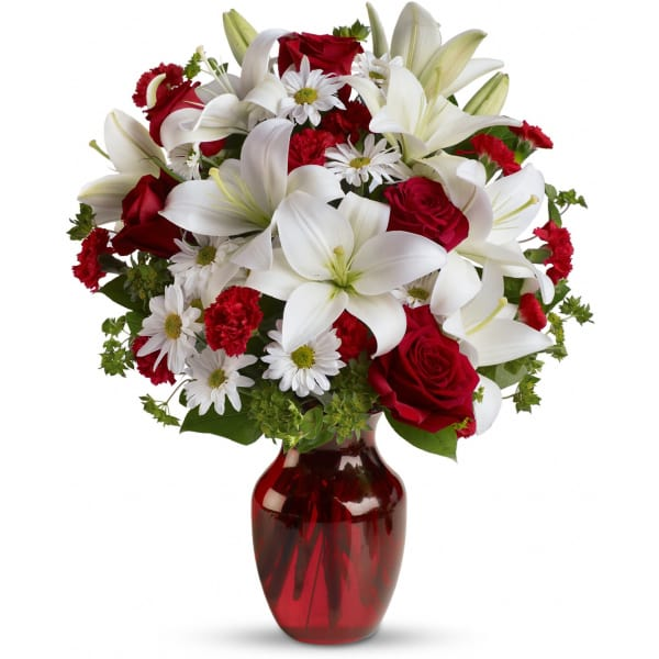 Be My Love Bouquet With Red Roses Vase Arrangements