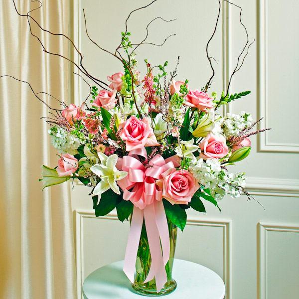 Pink White Large Sympathy Vase Arrangement Vase Arrangements