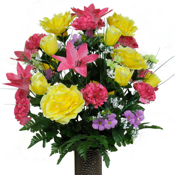 Pink Lily And Yellow Rose Mix Silk Cemetery Flowers