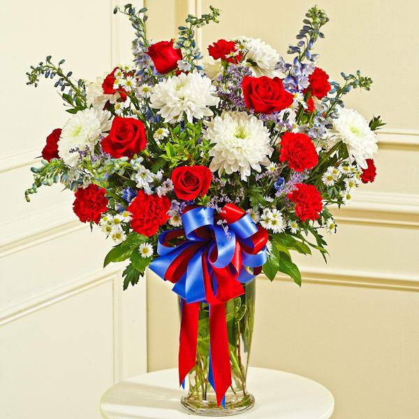 Red White Blue Large Sympathy Vase Arrangement