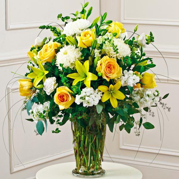Yellow And White Large Vase Arrangement Style