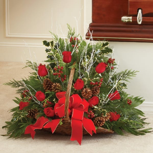 Christmas Colors.Sympathy Fireside Basket In Christmas Colors