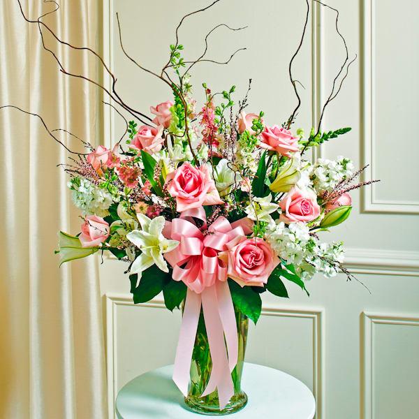 Pink And White Large Vase Arrangement Style